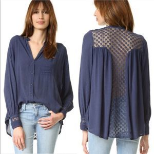 Free People | Navy Blue The Best Button Down Lace